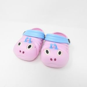 Other - Pink Caterpillar Crocs Blue Kids Clog Shoes NWOT